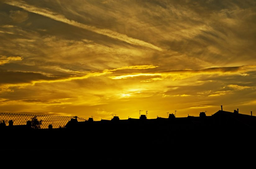 Houses at sunset